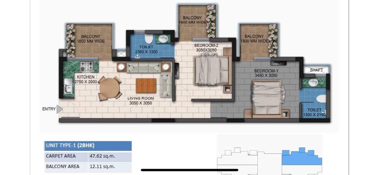 Agrante Kavyam Floor Plan 2BHK Type 1