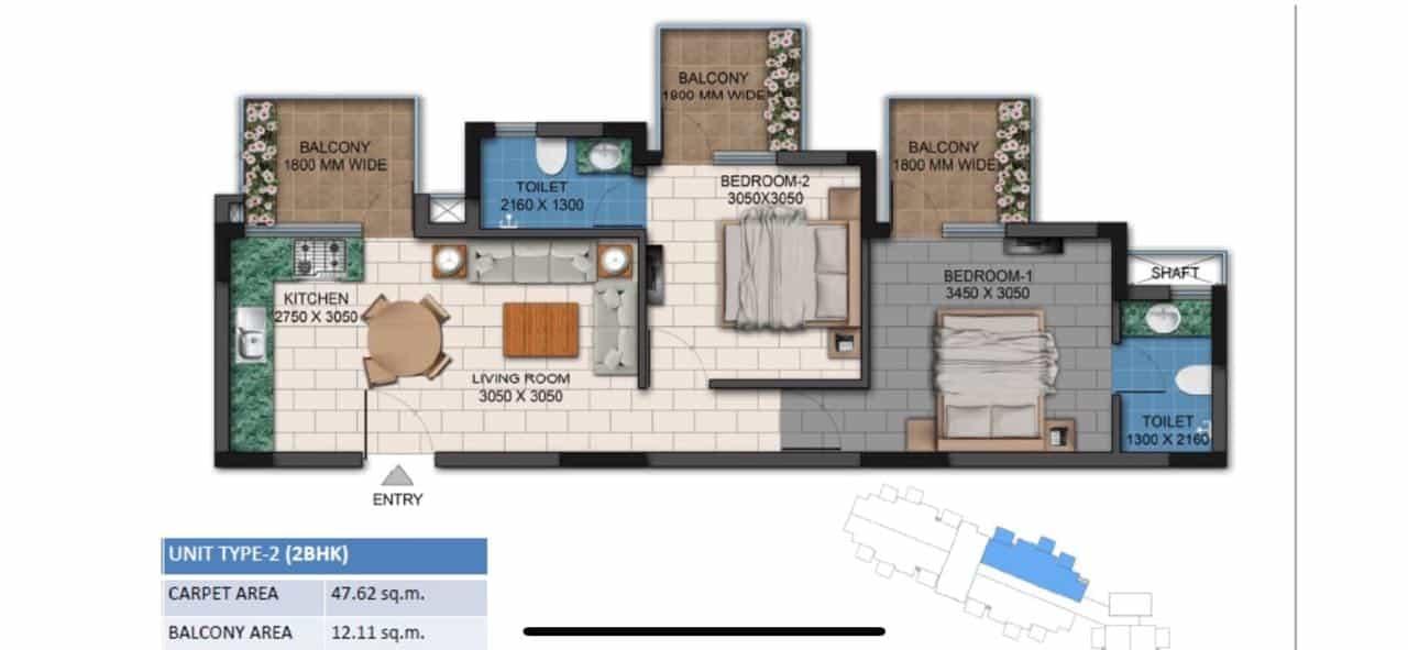 Agrante Kavyam Floor Plan 2BHK Type 2