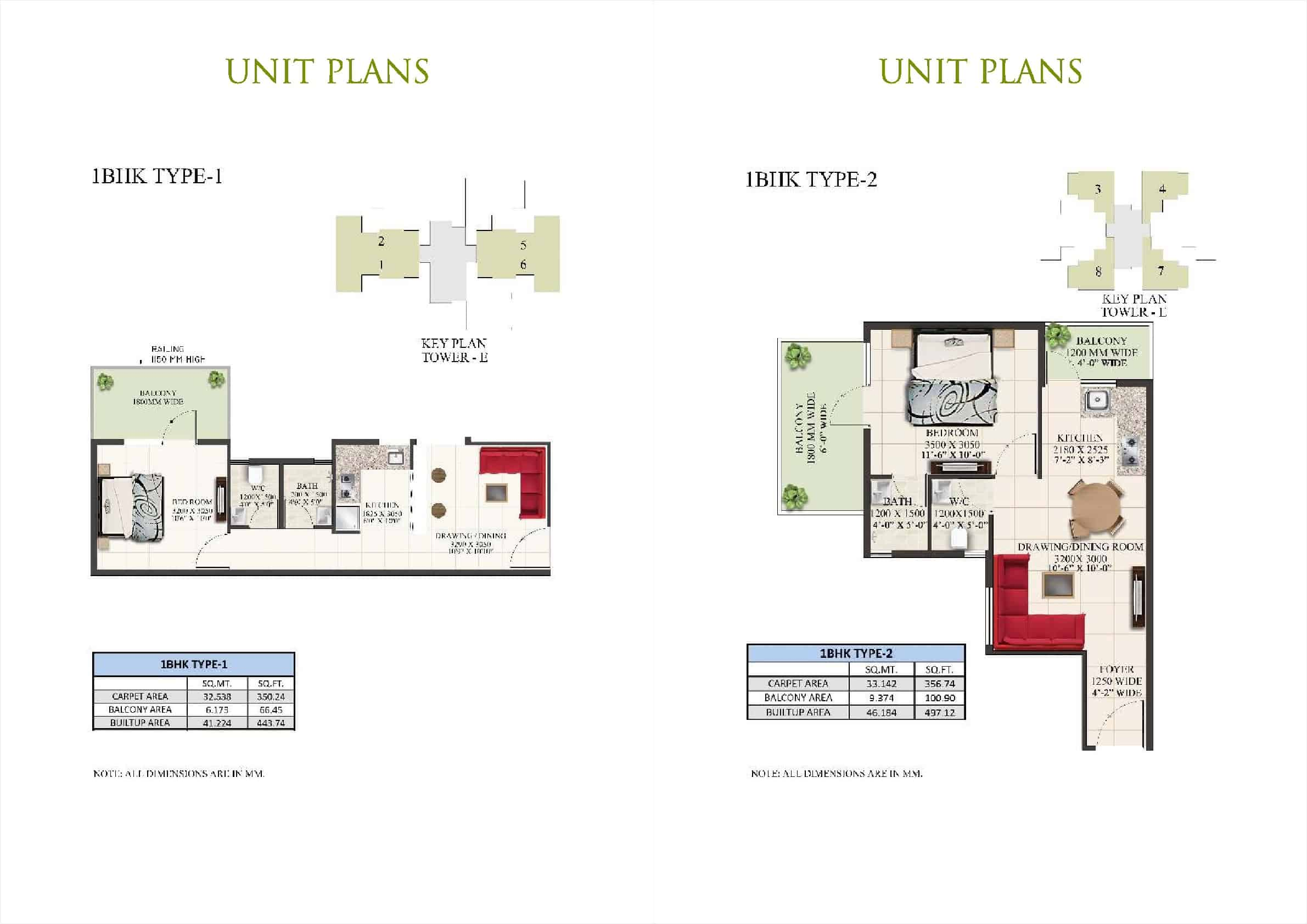 1BHK Type 1 and 2