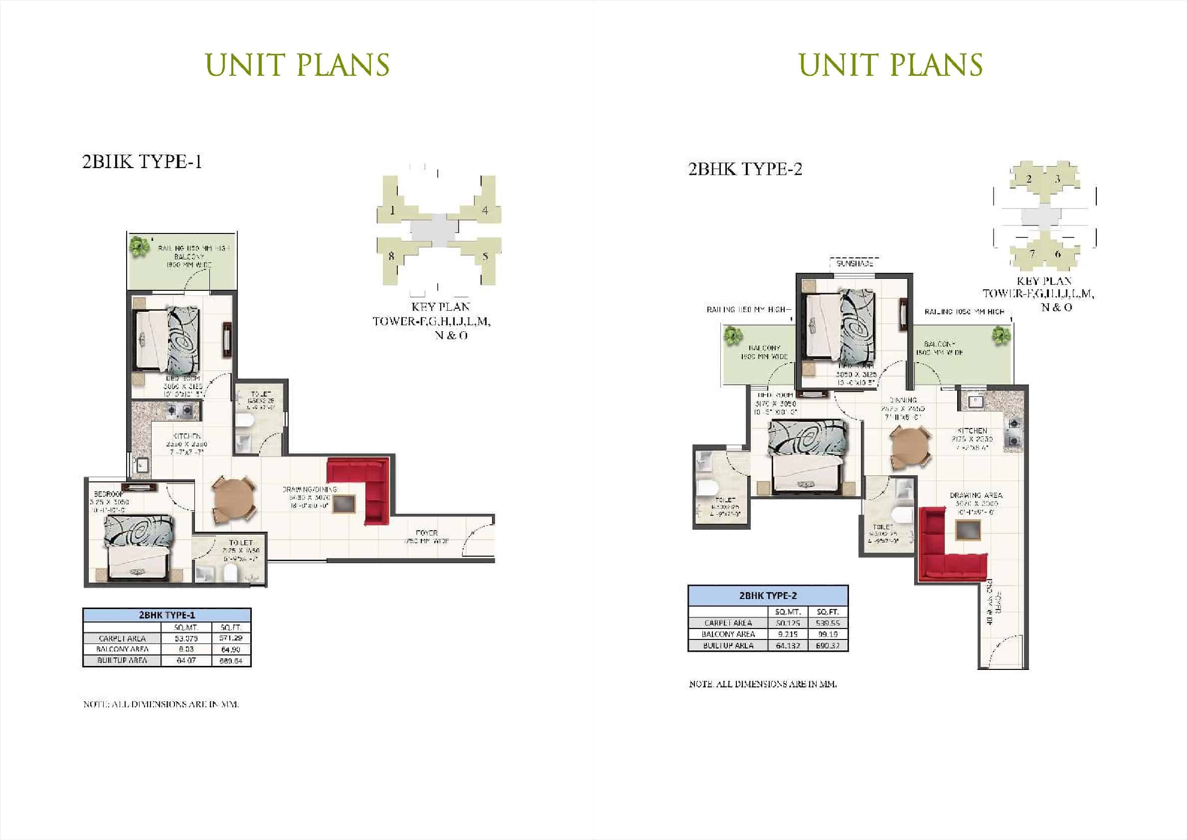2BHK Type 1 and 2