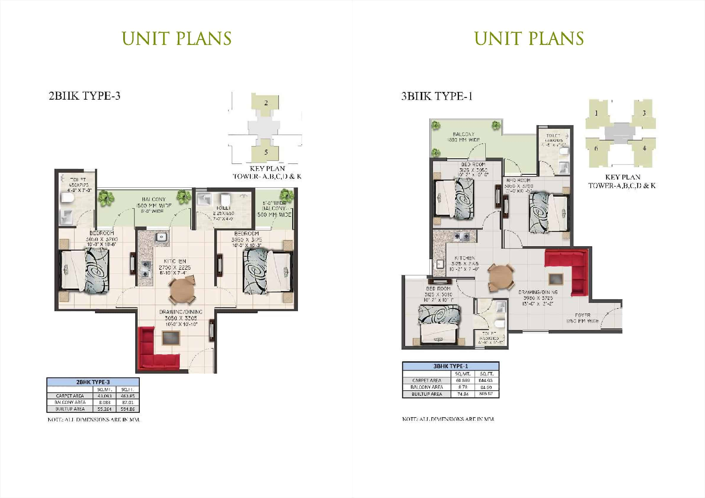 2BHK Type 3 and 3BHK
