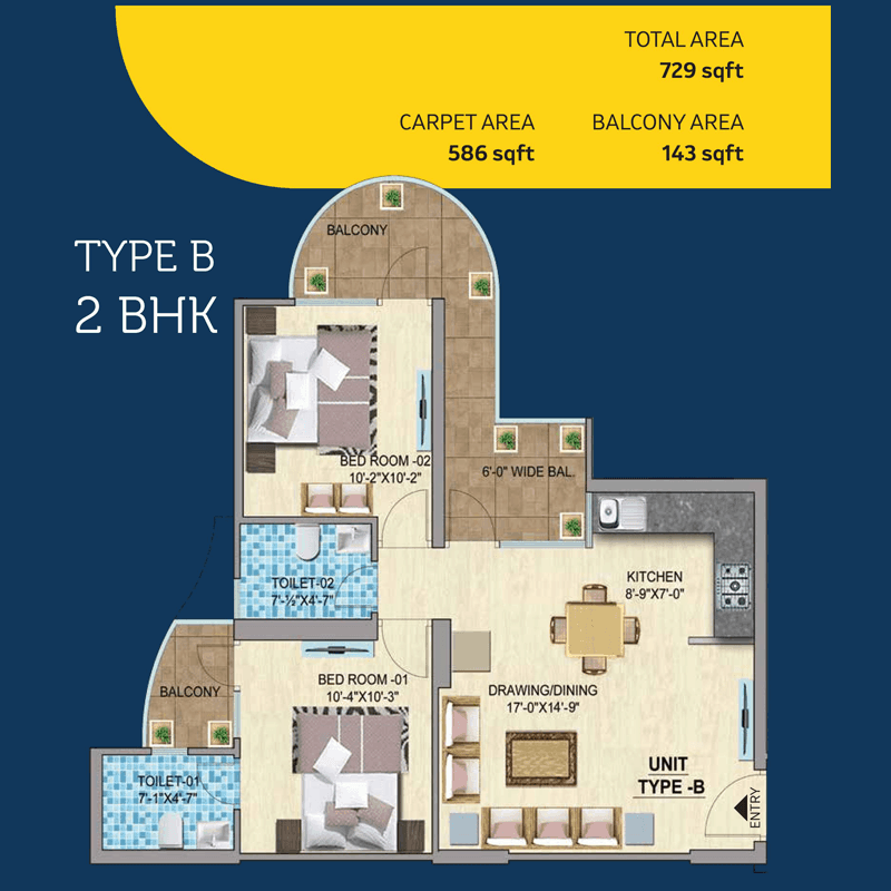 Mahira Homes 103 2BHK TYPE B Floor Plan
