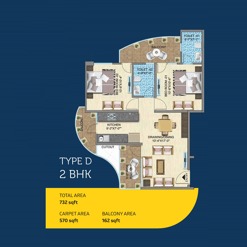 Mahira Homes 103 2BHK TYPE D Floor Plan