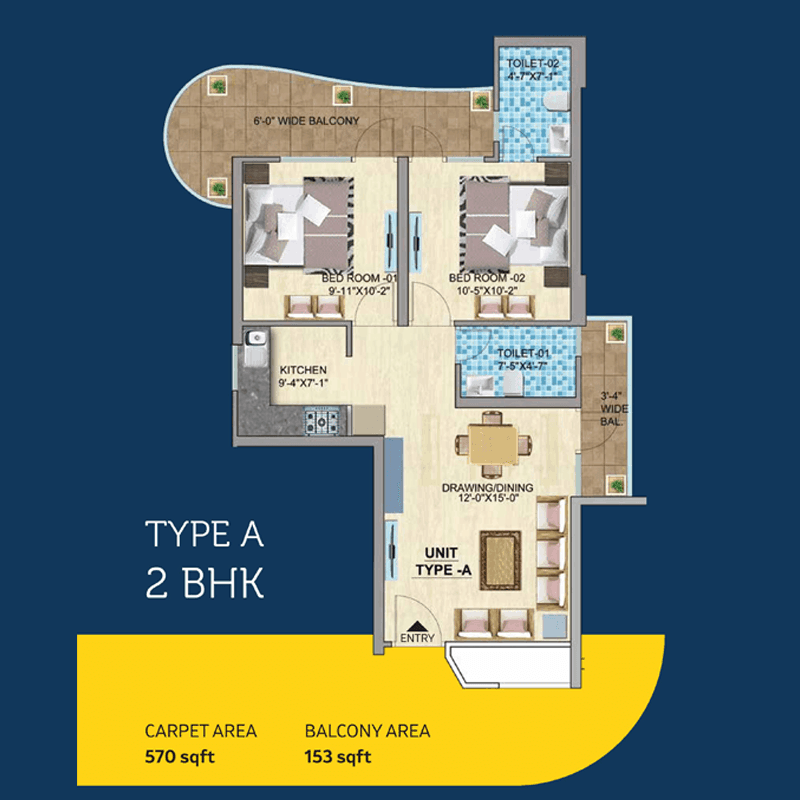Mahira Homes 103 2BHK TYPE A Floor Plan