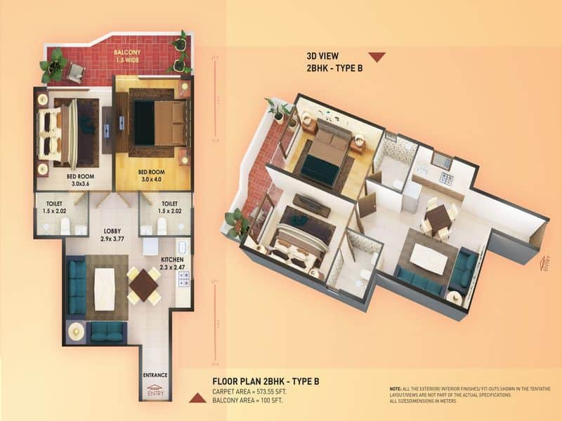 Pyramid Elite 2 BHK type B