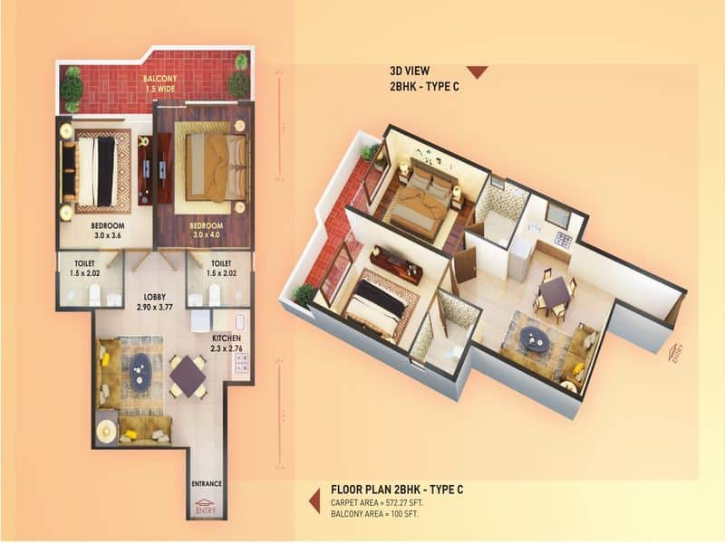 Pyramid Elite 2 BHK type C