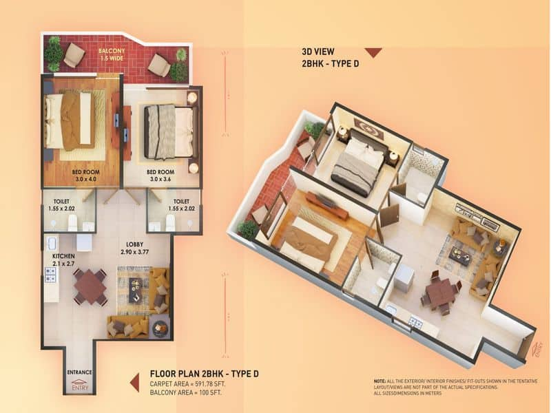 Pyramid Elite 2 BHK type D