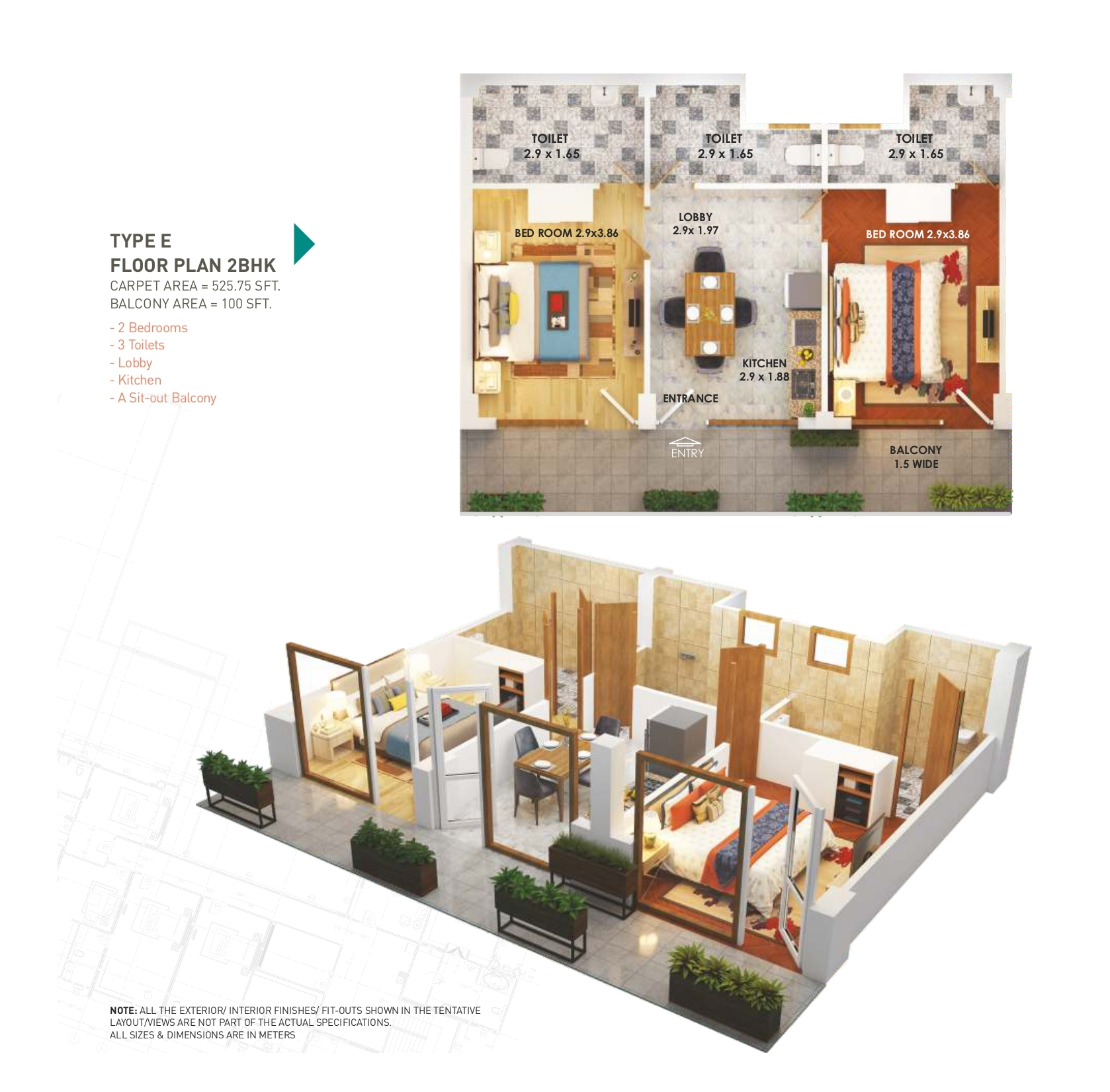 Pyramid Heights 2BHK Type E