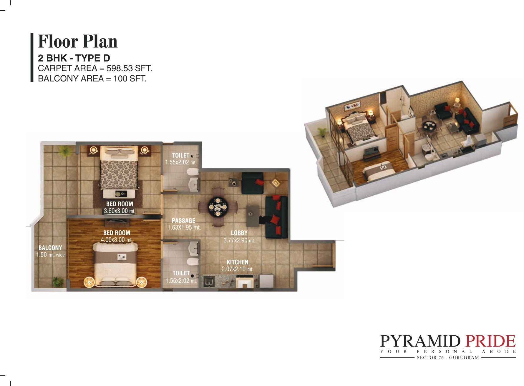 2BHK TypeD Pyramid Pride Sector 76 Gurugram