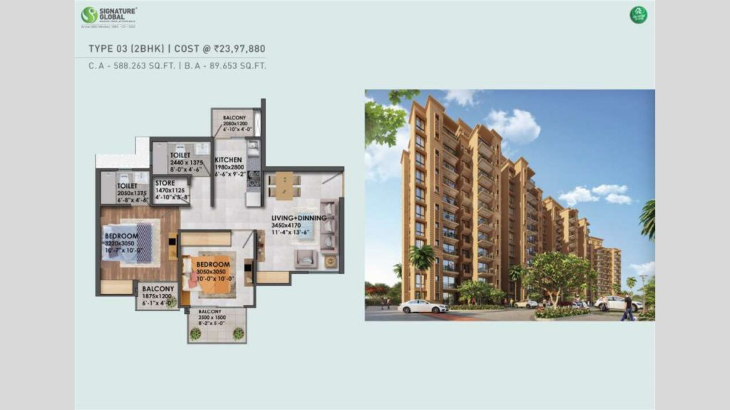 Signature Global Proxima 1 2BHK Type 3 & 4