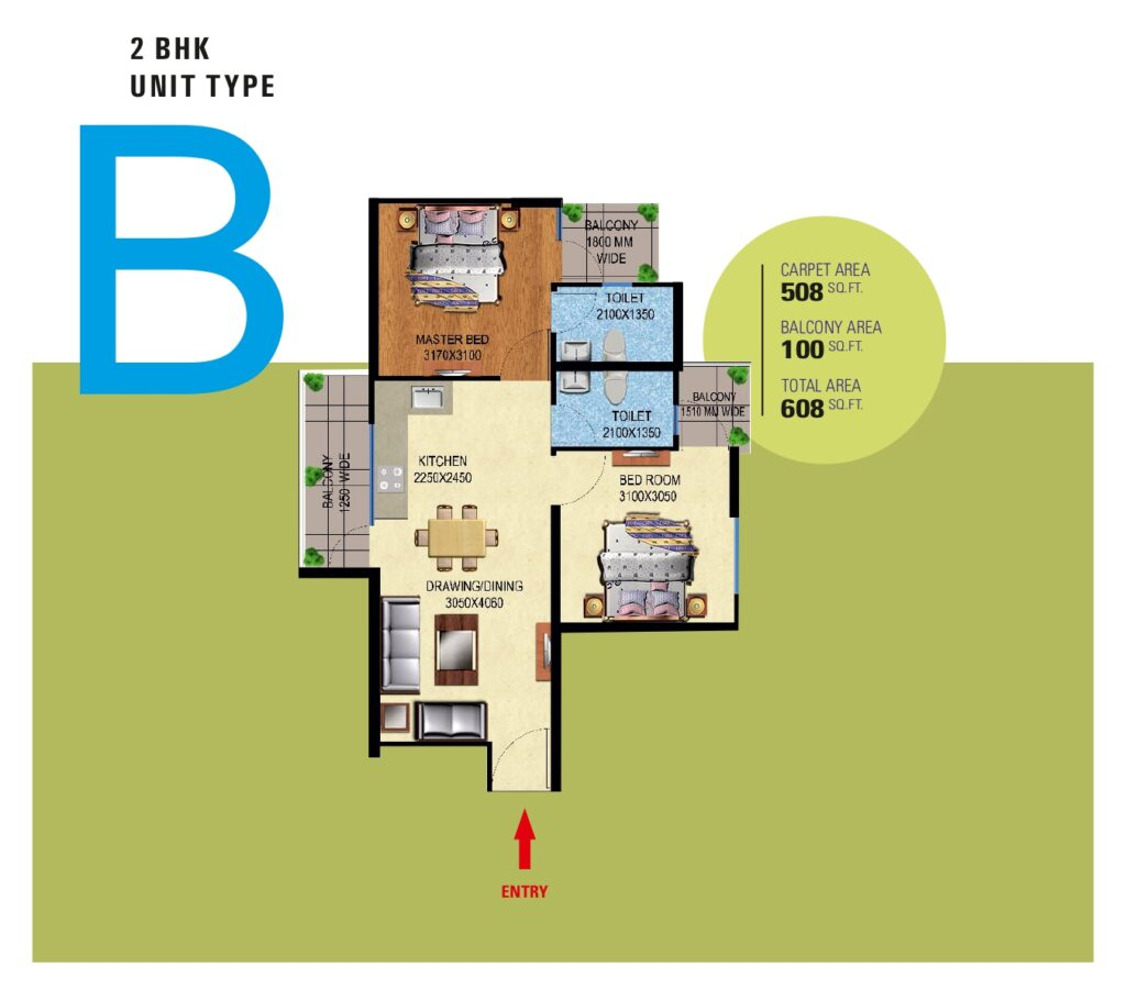 Mahira Homes Sector 95 Gurgaon 2-bhk type-B