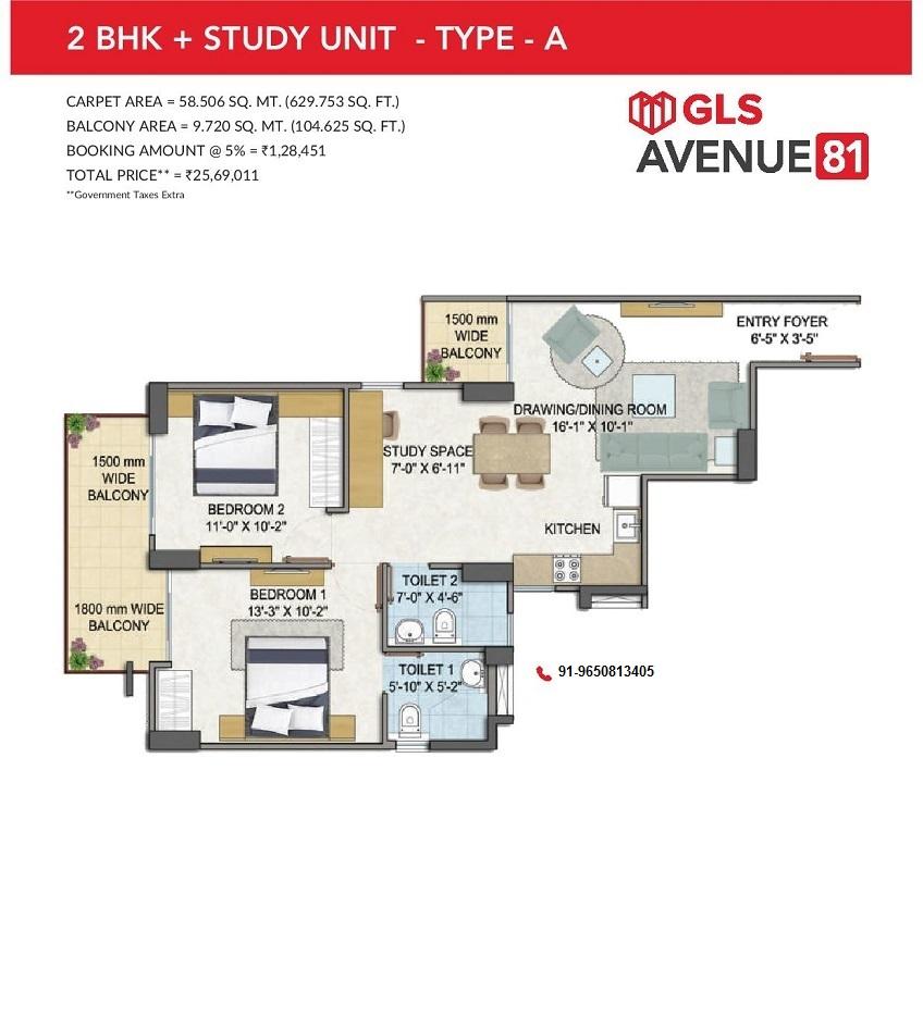 GLS Avenue 81 2BHK+Study Type A