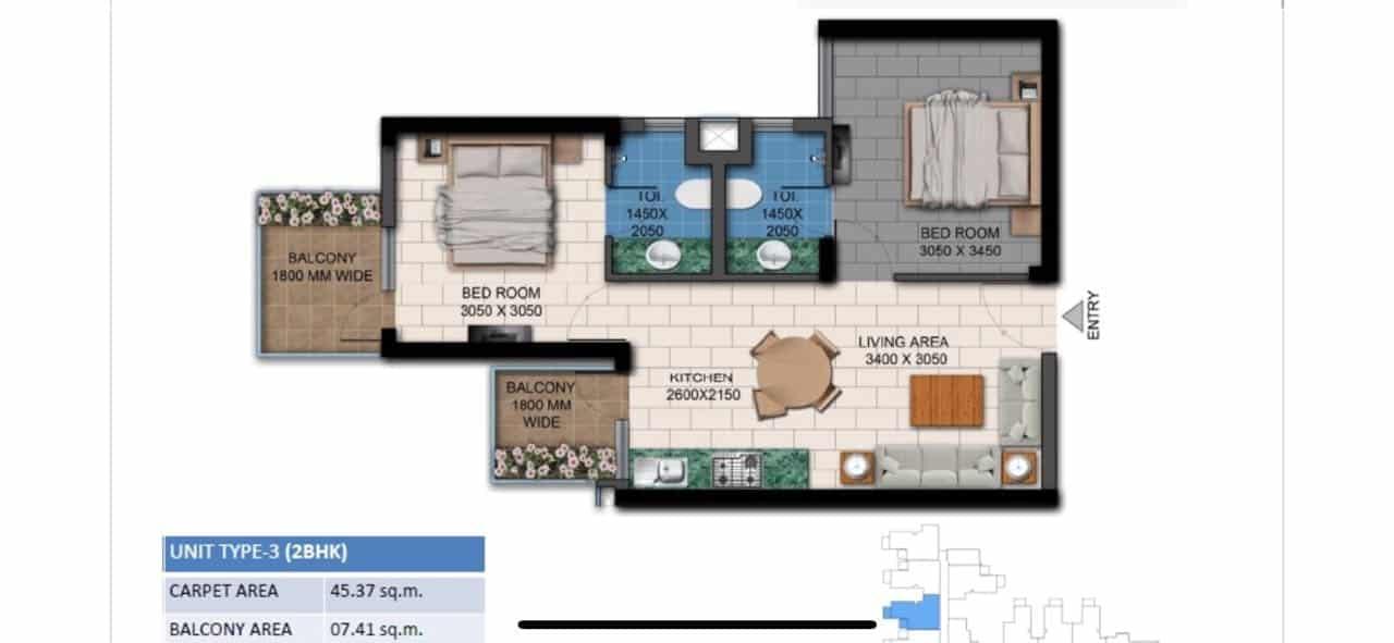 Agrante Kavyam Floor Plan 2BHK Type 3