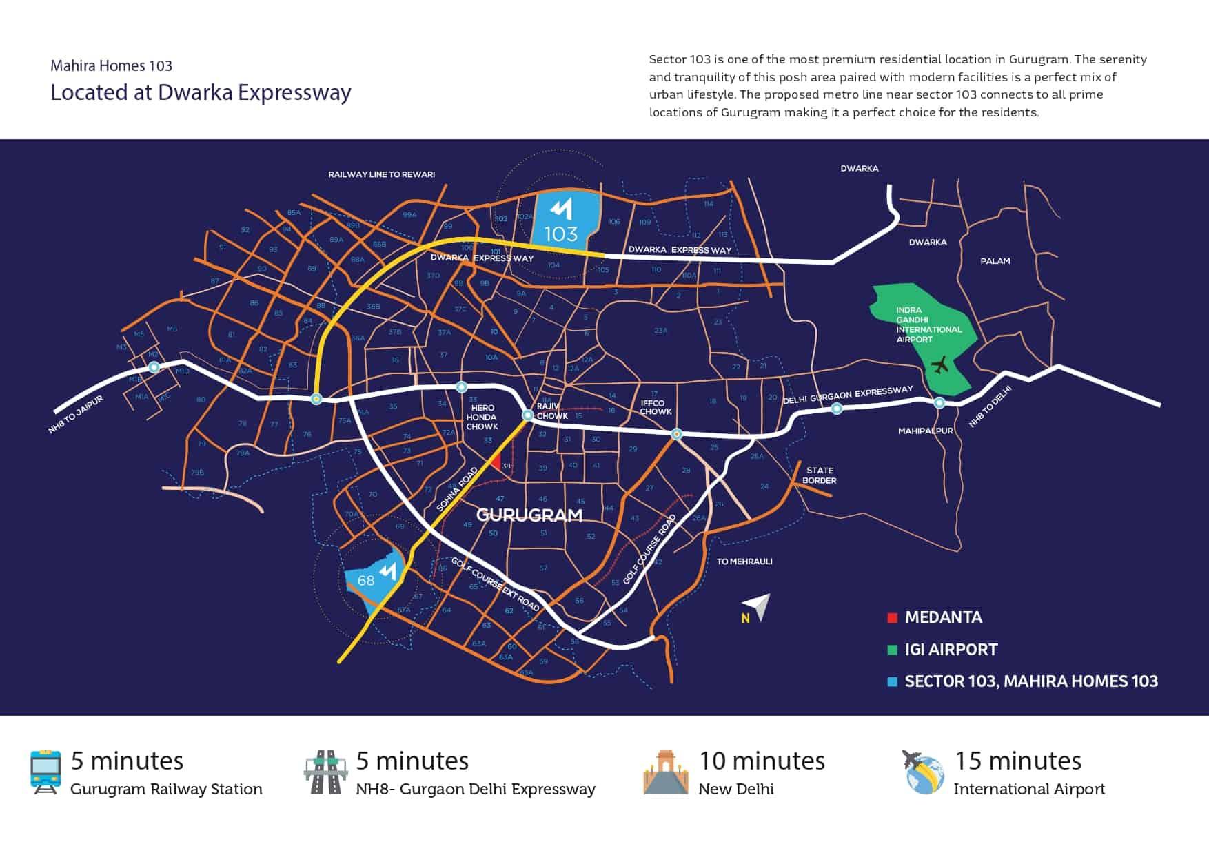 Mahira Homes Sector 103 Location Map