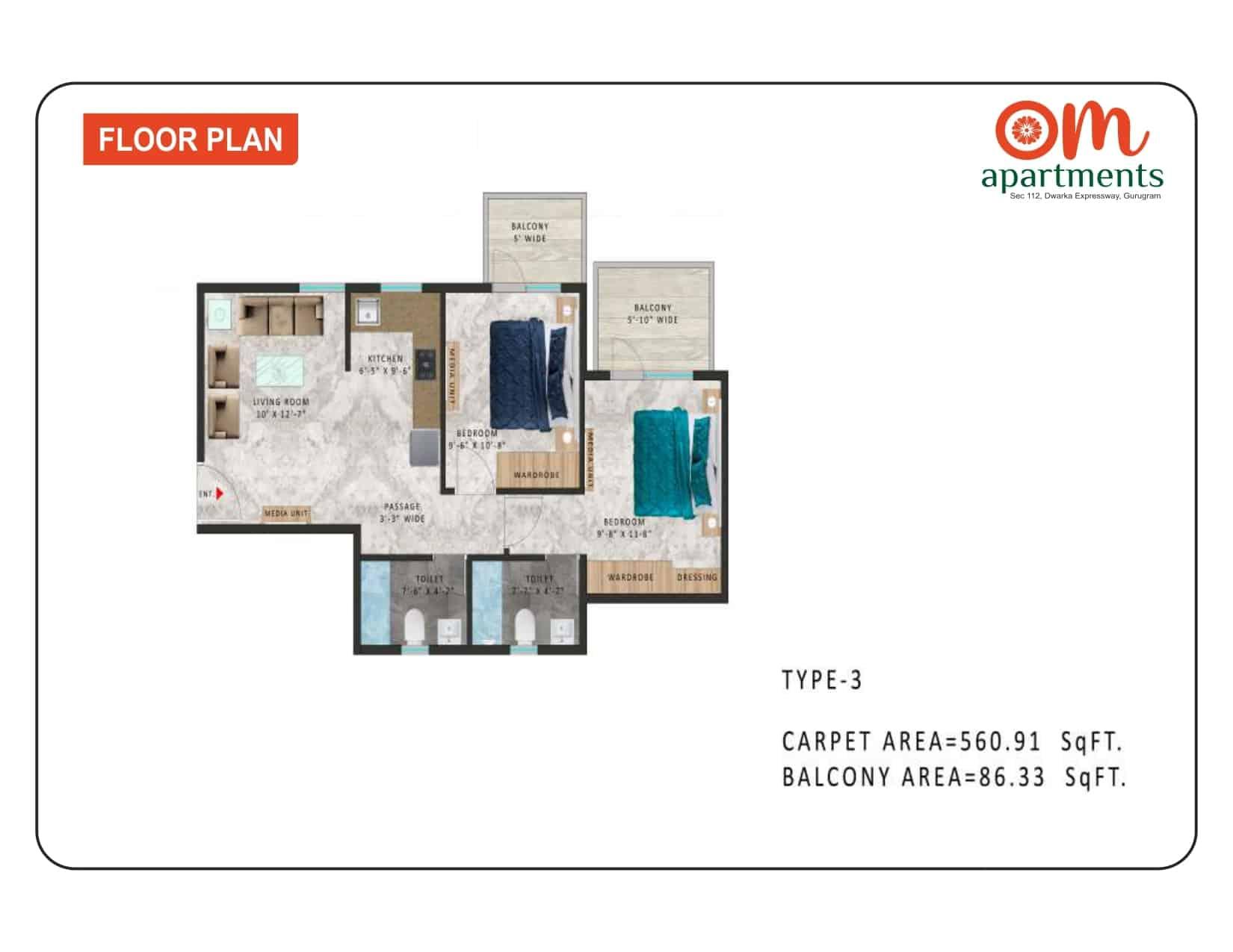 2BHK Type 3 Om Apartments 112