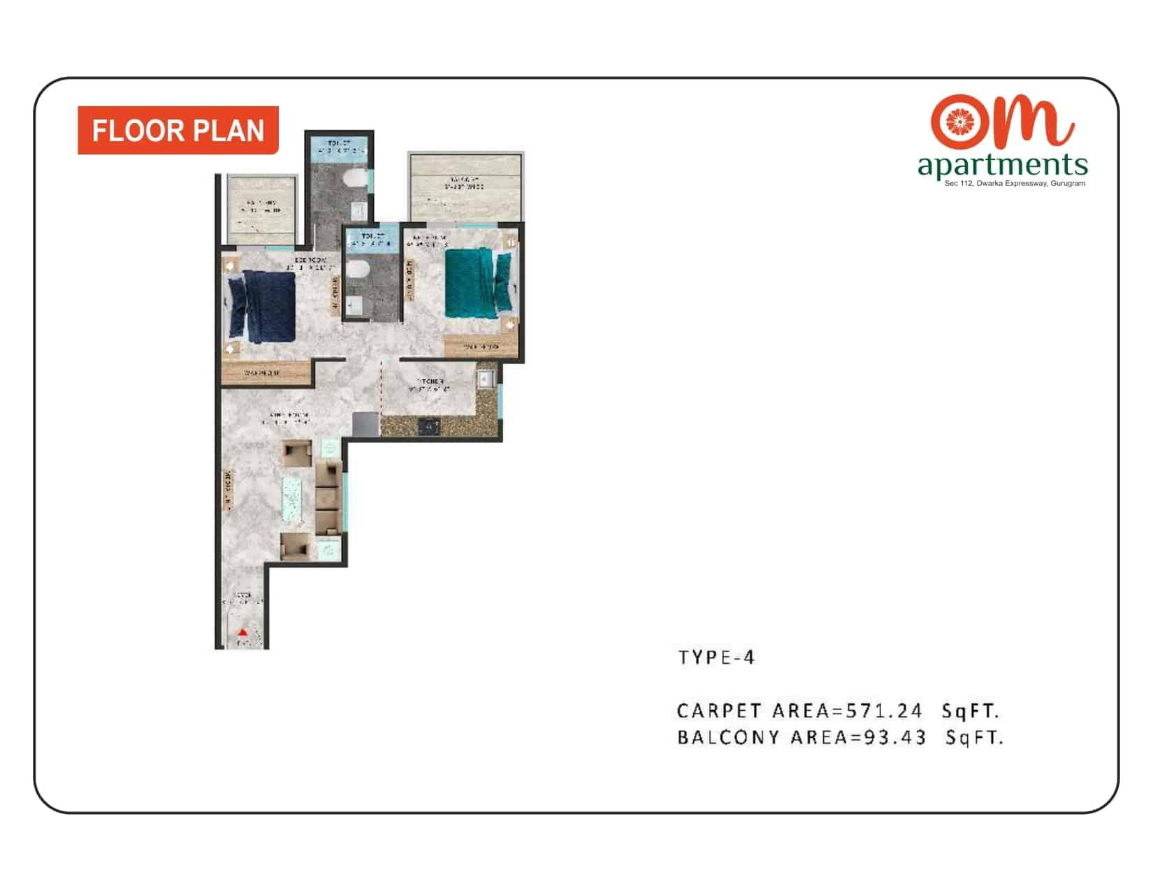 2BHK Type 4 Om Apartments 112