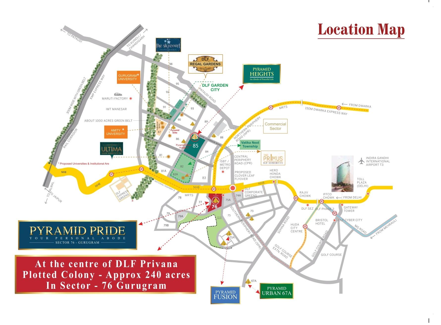 Location Map Pyramid Pride Sector 76 Gurugram