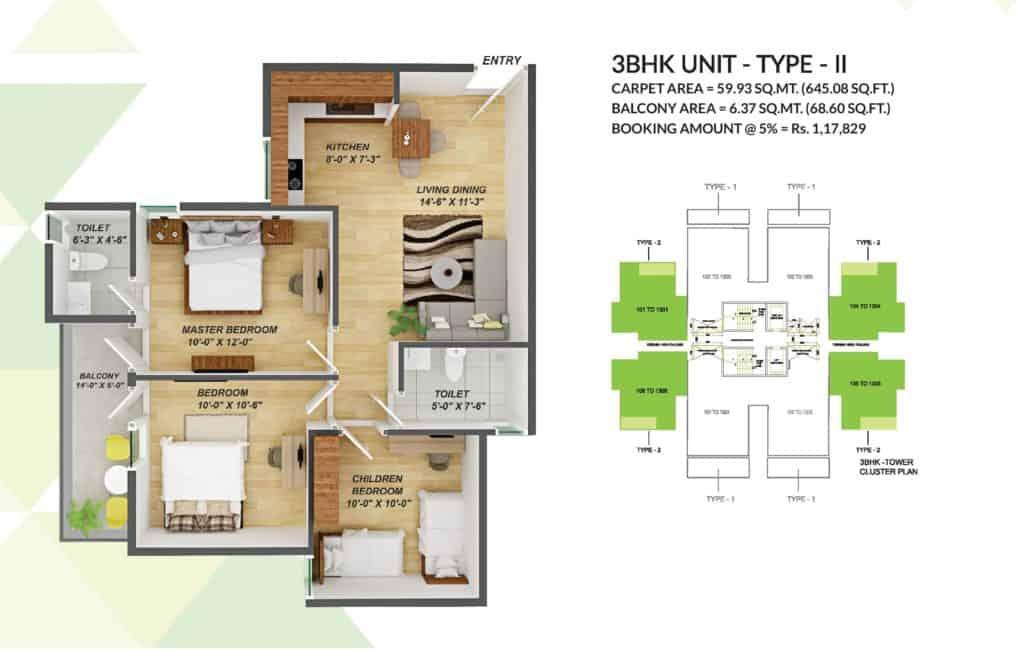 3BHK Type 2 GLS Arawali Homes 2