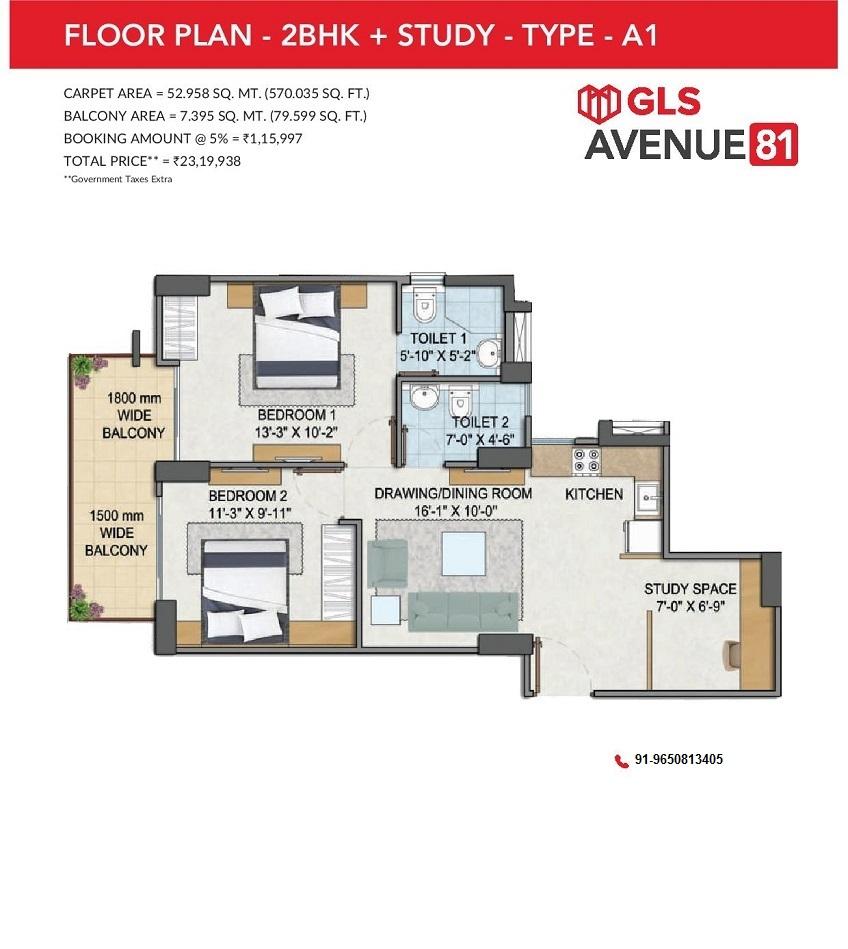 GLS Avenue 81 2BHK+Study Type A1